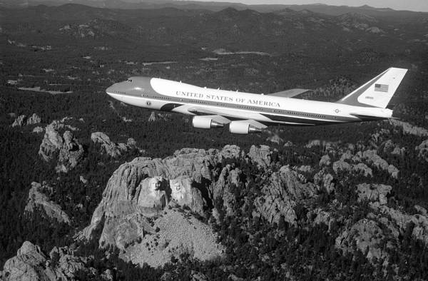 Rushmore Photograph - Air Force One Flying Over Mount Rushmore - 1990 by War Is Hell Store