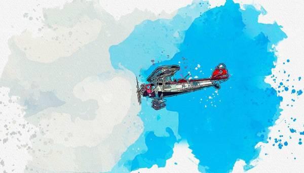 Wall Art - Painting - Air Show Watercolor By Ahmet Asar by Ahmet Asar