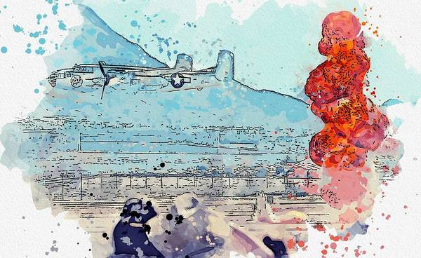 Wall Art - Painting - air-to-ground  assault watercolor by Ahmet Asar by Ahmet Asar