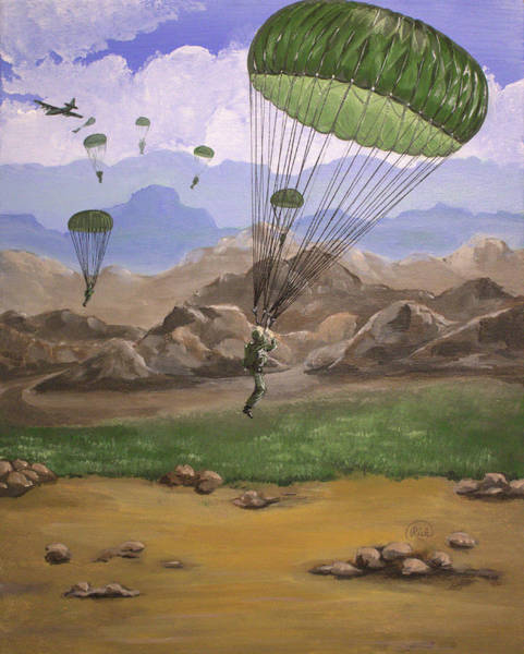 Skydive Painting - Airborne by Rick Mcclelland