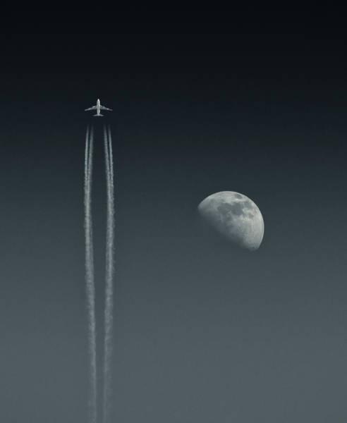 Airbus A380 Wall Art - Photograph - Airbus Aircraft Passing Moon by Photograph By Angus Macrae