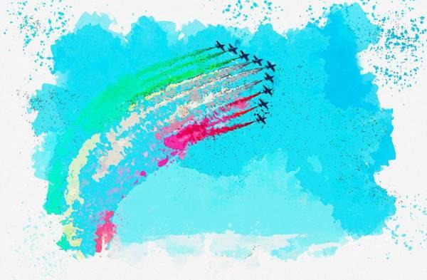 Wall Art - Painting - Aircraft Aerobatics Sky Military Flight Watercolor By Ahmet Asar by Ahmet Asar
