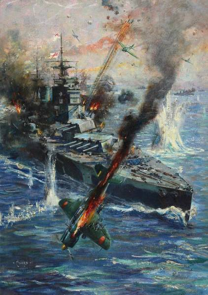 Wall Art - Painting - Aircraft Attack On British Warship by Terence Cuneo