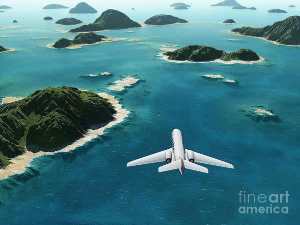 Atmosphere Wall Art - Digital Art - Aircraft Flies Over A Sea by Photobank Gallery