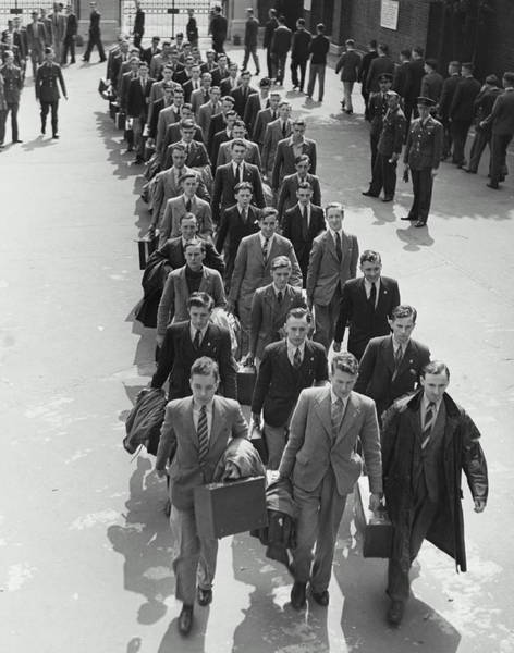 Arrival Photograph - Airforce Cadets Walking In Rows B&w by Hulton Archive