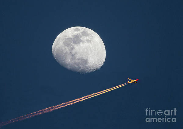 Photograph - Airliner And Waxing Gibbous Moon by Kevin McCarthy