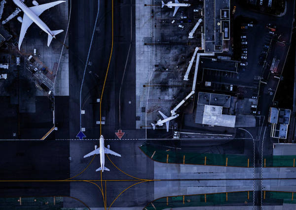Lax Photograph - Airliners At Gates And Control Tower At by Michael H