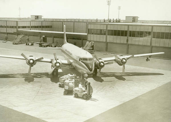 Ground Photograph - Airplane And Ground Crew On Airport by George Marks