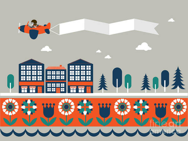 Wall Art - Digital Art - Airplane Banner City Vectorillustration by Lyeyee