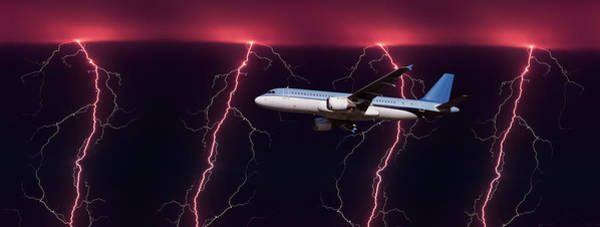 Wall Art - Photograph - Airplane In Flight Through A Lighting by Panoramic Images
