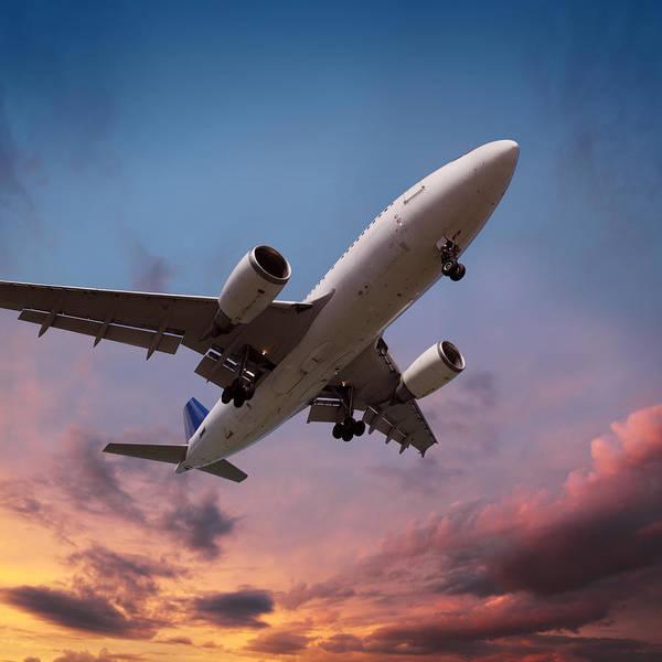 Taking Off Photograph - Airplane Landing In Sunset Light by Narvikk