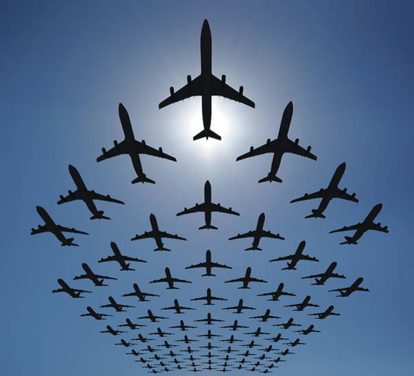 Out Of Context Photograph - Airplane Silhouettes Fly In V Formation by Georgo