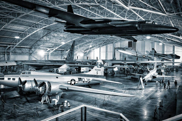 Wall Art - Photograph - Airplanes Military Sac Museum Bw by Thomas Woolworth