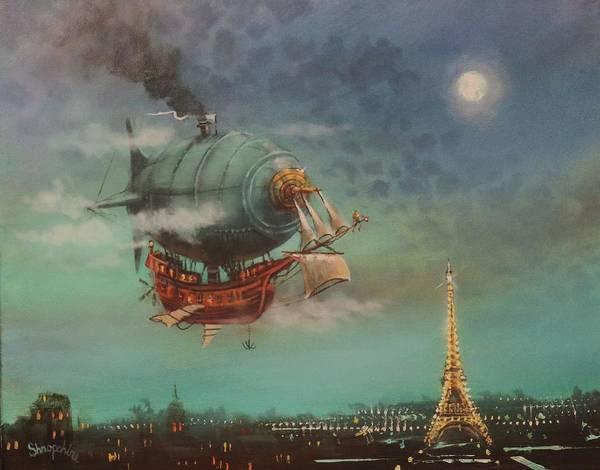 Wall Art - Painting - Airship Over Paris by Tom Shropshire