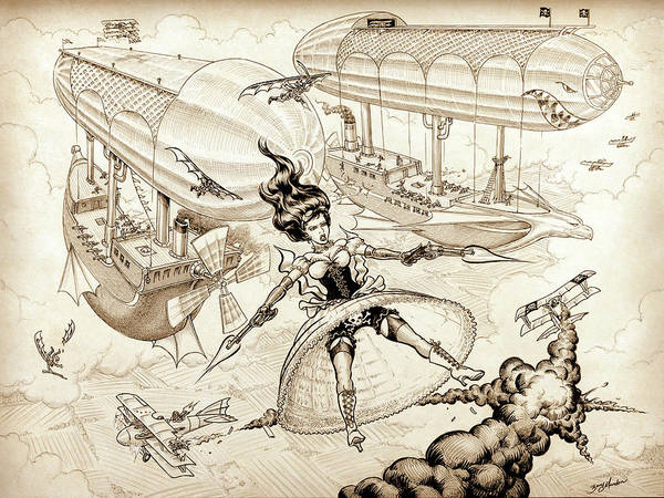 Drawing - Airship Pirate by Barry Munden