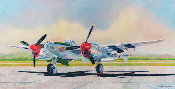 Painting - Airshow P-38l Lightning by Douglas Castleman