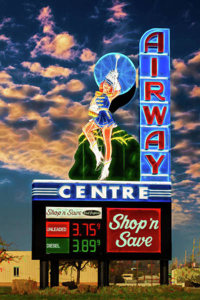 Photograph - Airway Drive-in Vintage Neon Sign by Robert FERD Frank