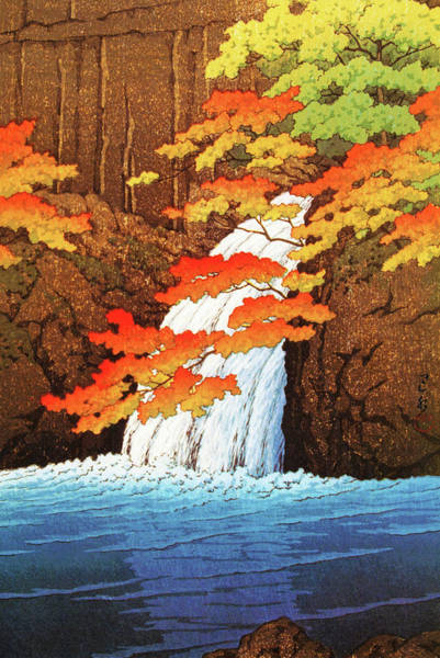Wall Art - Painting - Akame Senjyu Waterfall - Digital Remastered Edition by Kawase Hasui