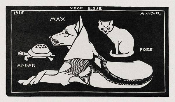 Panda Drawing Painting - Akbar The Tortoise  Max The Dog And Puss The Cat  1916   By Julie De Graag  1877 1924  by Celestial Images
