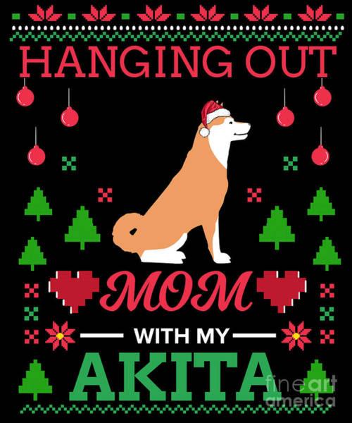 Ugly Digital Art - Akita Ugly Christmas Sweater Xmas Gift by TeeQueen2603