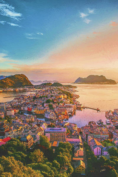 Painting - Aksta Viewpoint, Alesund Norway by Dean Wittle