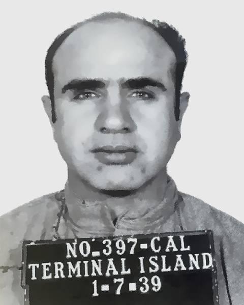 Outfit Digital Art - Al Capone Mugshot 1939 - T-shirt by Daniel Hagerman