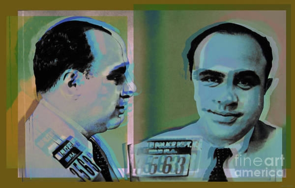 Digital Art - Al Capone Mugshot Pop Art Warhol Style by Jean luc Comperat