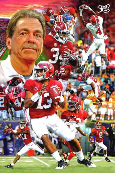 Crimson Painting - Alabama Football 2018 Team by Mark Spears