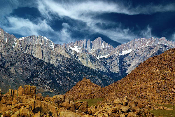 Sierra Nevada Mountain Range Photograph - Alabama Hills With Mt Whitney In by Bill Wight