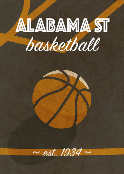 St Mixed Media - Alabama St University Retro College Basketball Team Poster by Design Turnpike