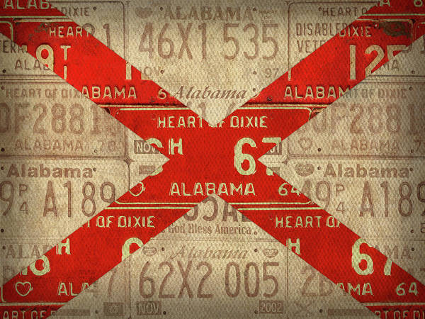 Wall Art - Mixed Media - Alabama State Flag Vintage License Plate Art by Design Turnpike
