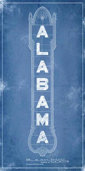 Digital Art - Alabama Theatre Marquee Blueprint by Mark E Tisdale