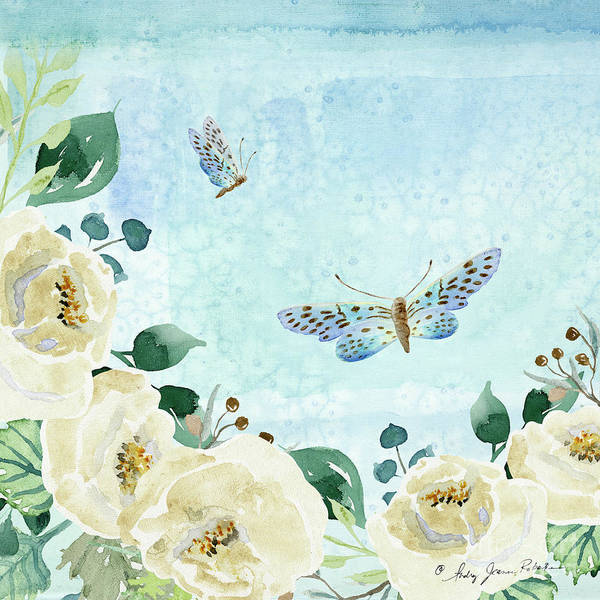 Wall Art - Painting - Alabaster Rose Garden In Blue 1 by Audrey Jeanne Roberts