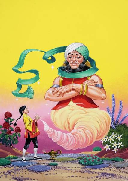 Genie Painting - Aladdin And His Wonderful Lamp by Angus Mcbride