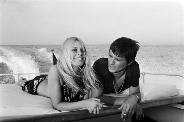 Smiling Photograph - Alain Delon And Brigitte Bardot In by Jean-pierre Bonnotte