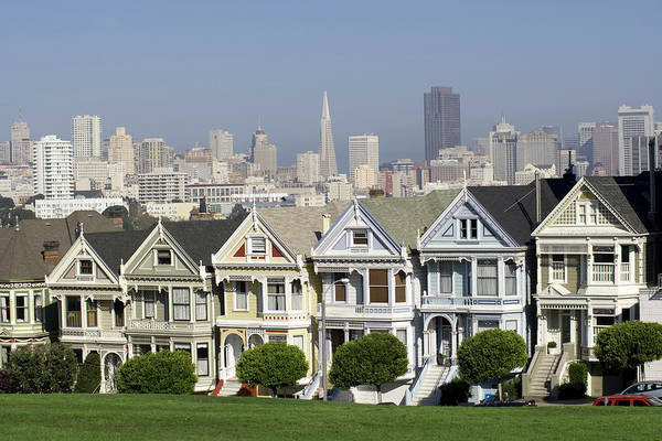 Mission Bay Photograph - Alamo Square With San Francisco Skyline by Silvrshootr