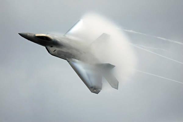 Supersonic Speed Wall Art - Photograph - Alaska Air Show Arctic Thunder. F22a by Bill Raften