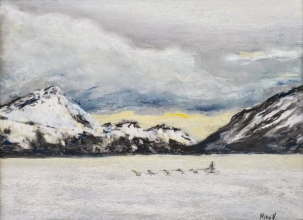 Pastel - Alaska Glacier And Dog Sled by Maria Langgle