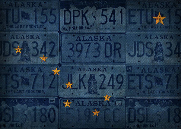 Wall Art - Mixed Media - Alaska State Flag Vintage License Plate Art by Design Turnpike