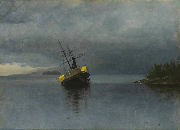 Wall Art - Painting - Albert Bierstadt - Wreck Of The Ancon In Loring Bay, Alaska  1889  by Celestial Images