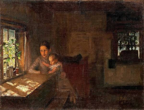 Wall Art - Painting - Albert Edelfelt  1854-1905 , A Study For The Painting  Interior Of A Crofter's Cottage by Celestial Images
