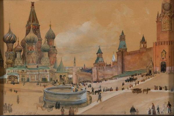 Wall Art - Painting - Albert Edelfelt  1854-1905 , From Moscow  The Kremlin And Saint Basil S Cathedral by Celestial Images