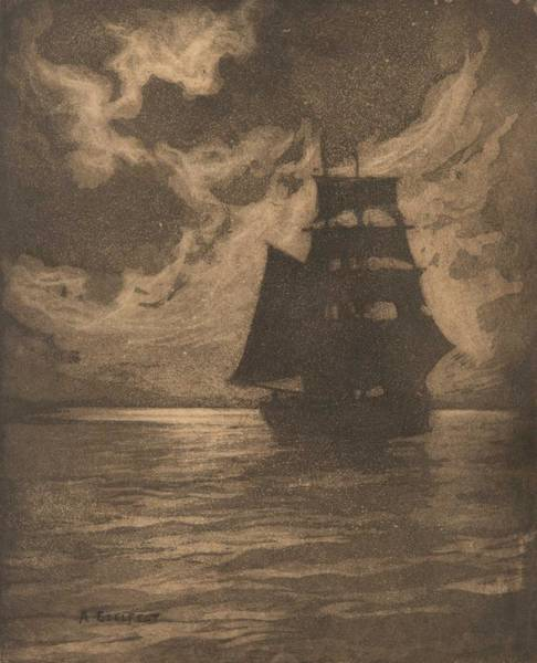 Wall Art - Painting - Albert Edelfelt  1854-1905 , Ship In The Moonlight by Celestial Images