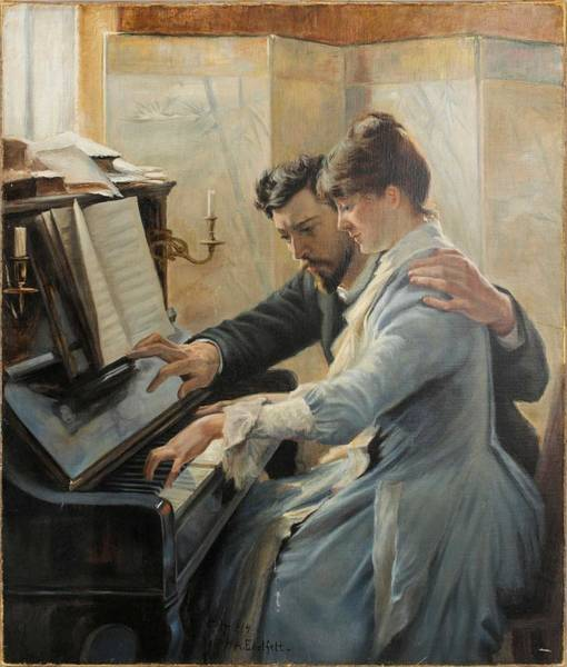 Wall Art - Painting - Albert Edelfelt  1854-1905   Piano Lesson 1904 by Celestial Images