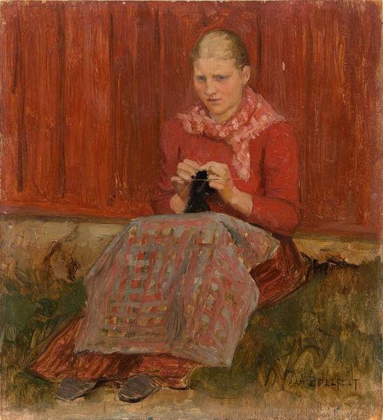 Wall Art - Painting - Albert Edelfelt, A Girl Knitting by Albert Edelfelt
