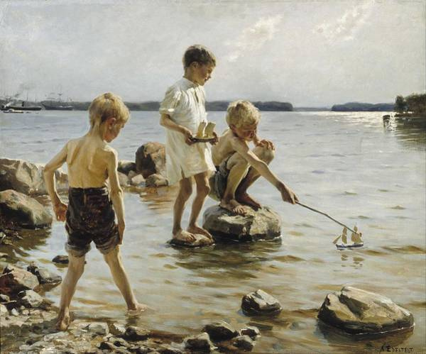 Wall Art - Painting - Albert Edelfelt - Boys Playing On The Shore by Celestial Images