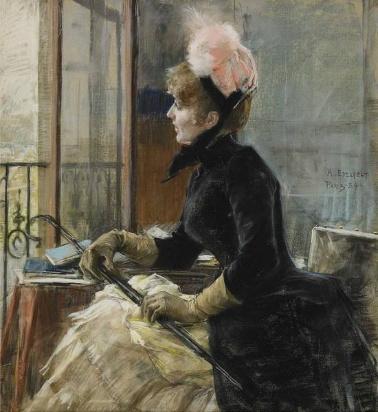 Wall Art - Painting - Albert Edelfelt - By The Window  1884  by Celestial Images