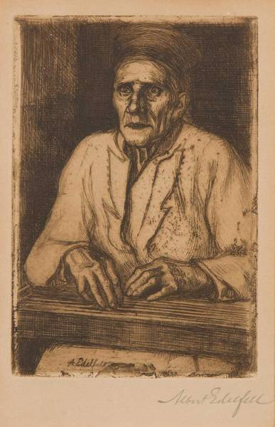 Wall Art - Painting - Albert Edelfelt Etching,  . Larin Paraske With Kantele by Celestial Images