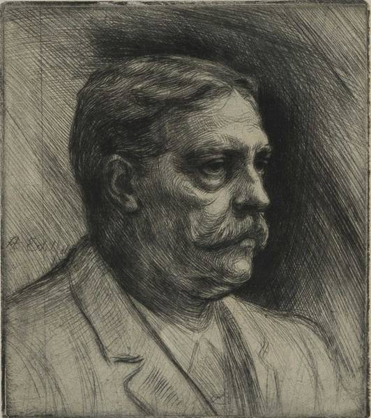 Painting - Albert Edelfelt, Etching,  Portrait Of Viktor Rydberg by Albert Edelfelt