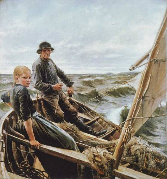 Wall Art - Painting - Albert Edelfelt - On The Wave by Albert Edelfelt